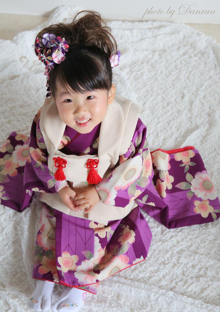 山口県下関市で七五三のお写真や神社にお参りに行く時の3歳の貸衣装はだんらんスタジオ